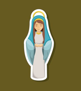 Mary cartoon of holy night design