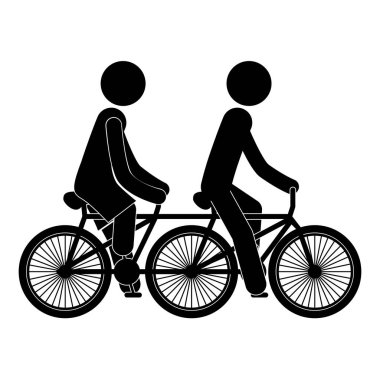 black silhouette people in polycycle