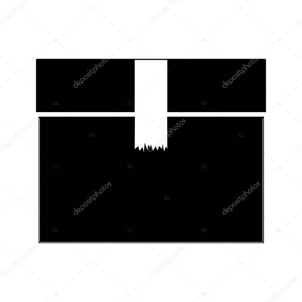 schwarze silhouette geschlossenen box mit paketklebeband