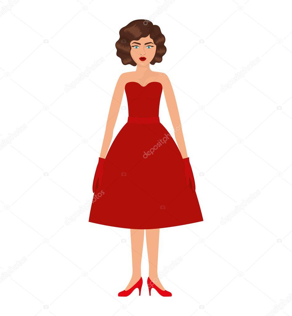 Frau mit rotem Kleid und 80er Jahre Frisur — Stockvektor ...