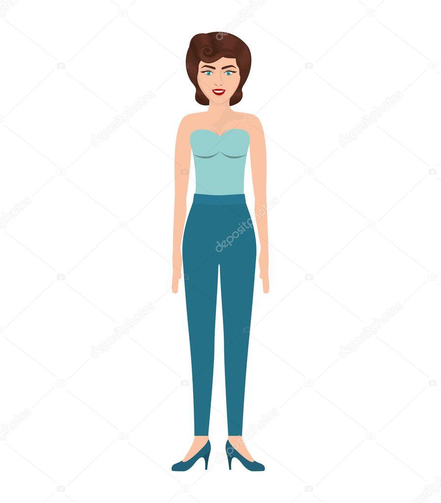Frau Mit Trägerloser Bluse Und 80er Jahre Frisur