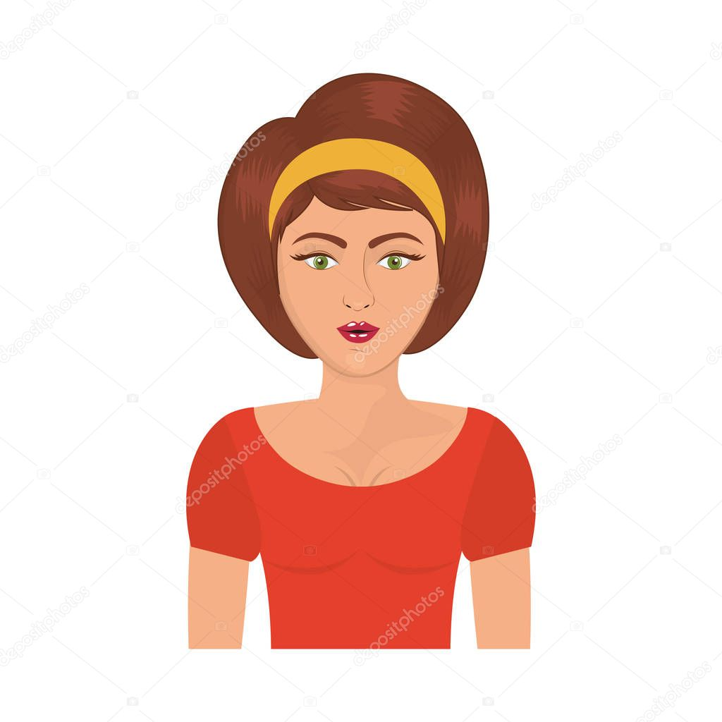 Halben Körper Frau Mit Stirnband Und Kurze Braune Haare