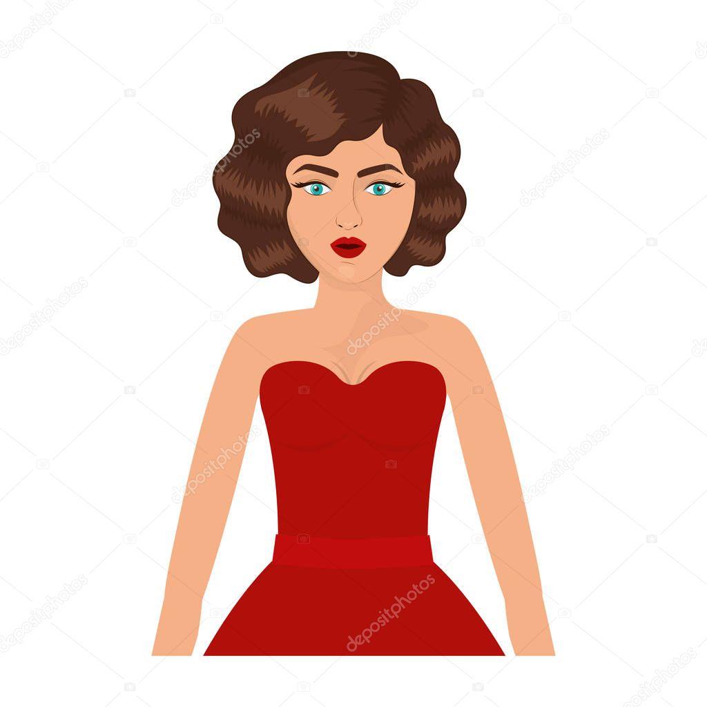 Halbkörper Frau Mit Rotem Ballkleid Und 80er Jahre Frisur