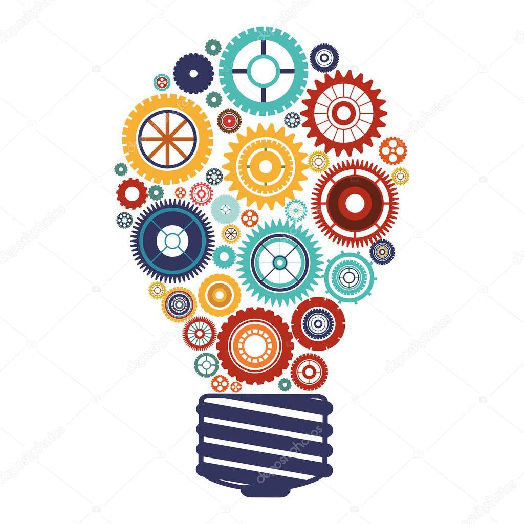 bulb with gears and idea focus
