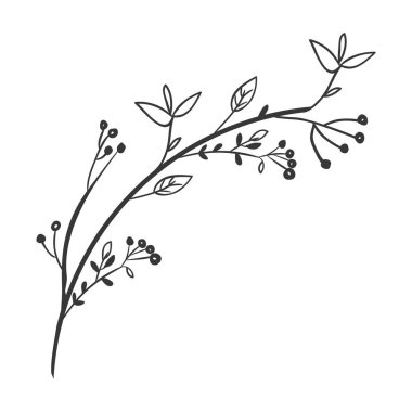 gray scale decorative branch with leaves