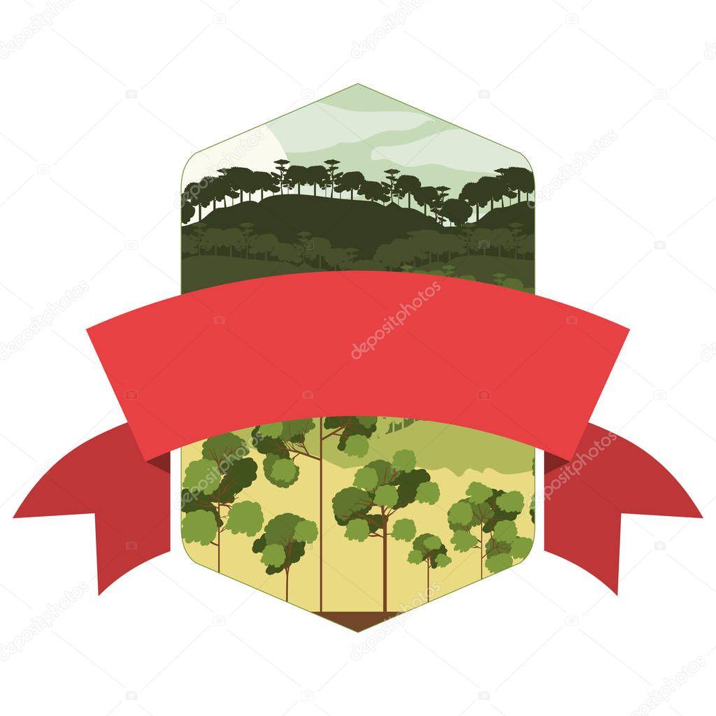 marco de montaña y Valle con cinta central — Vector de stock ...