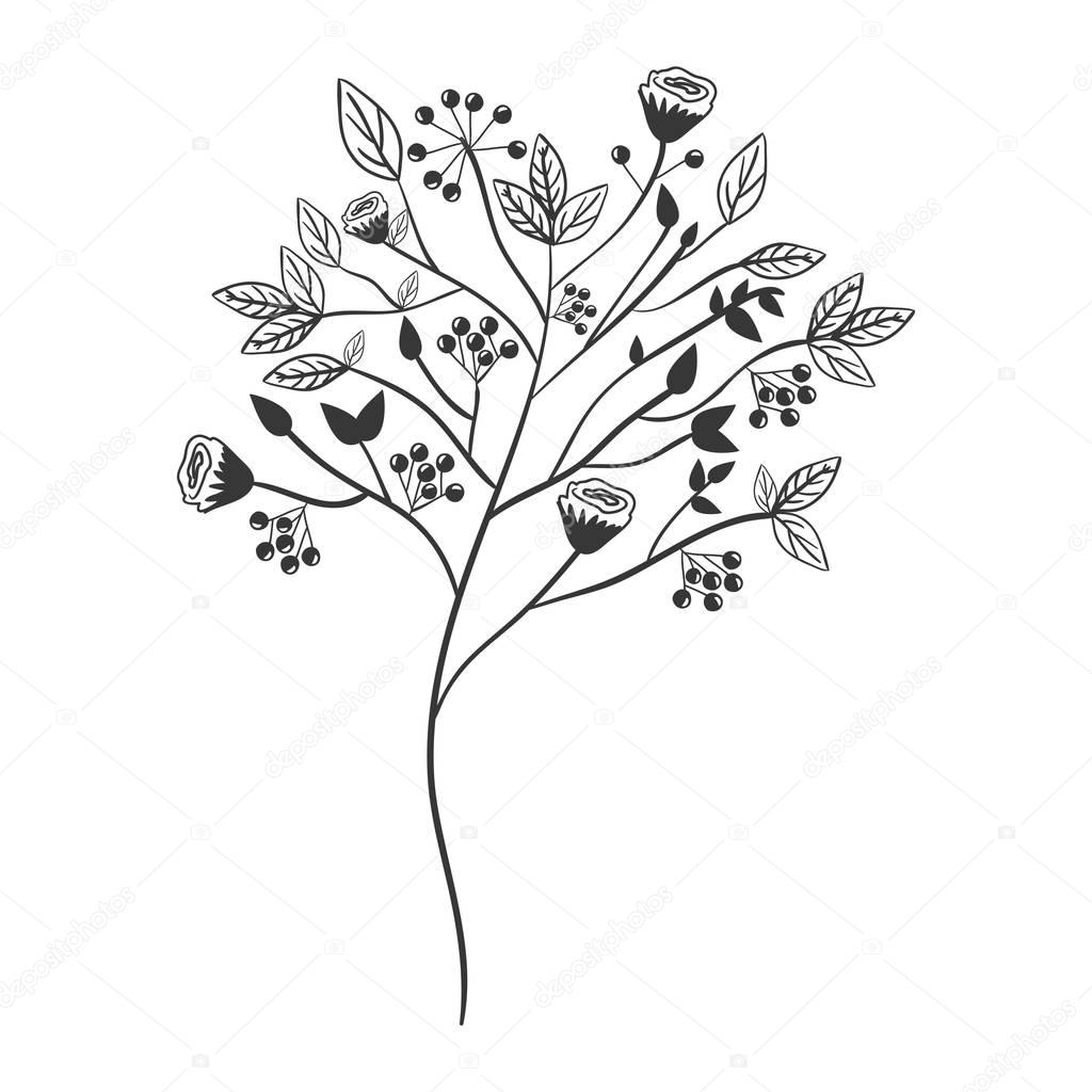 gray scale with floral branch