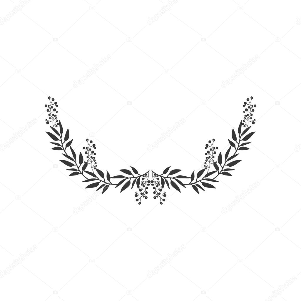 Gray Scale Half Crown With Olive Long Branch Stock Vector