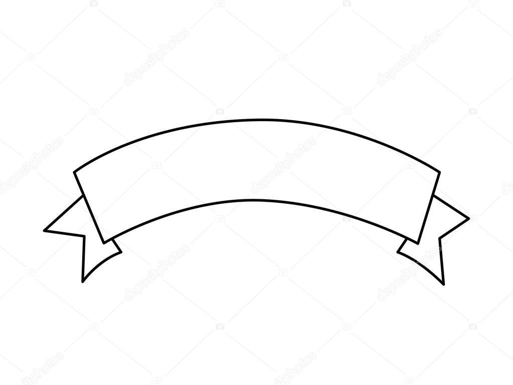 Line Art Ribbon : Silhouette label with ribbon on tape u2014 stock vector © grgroupstock