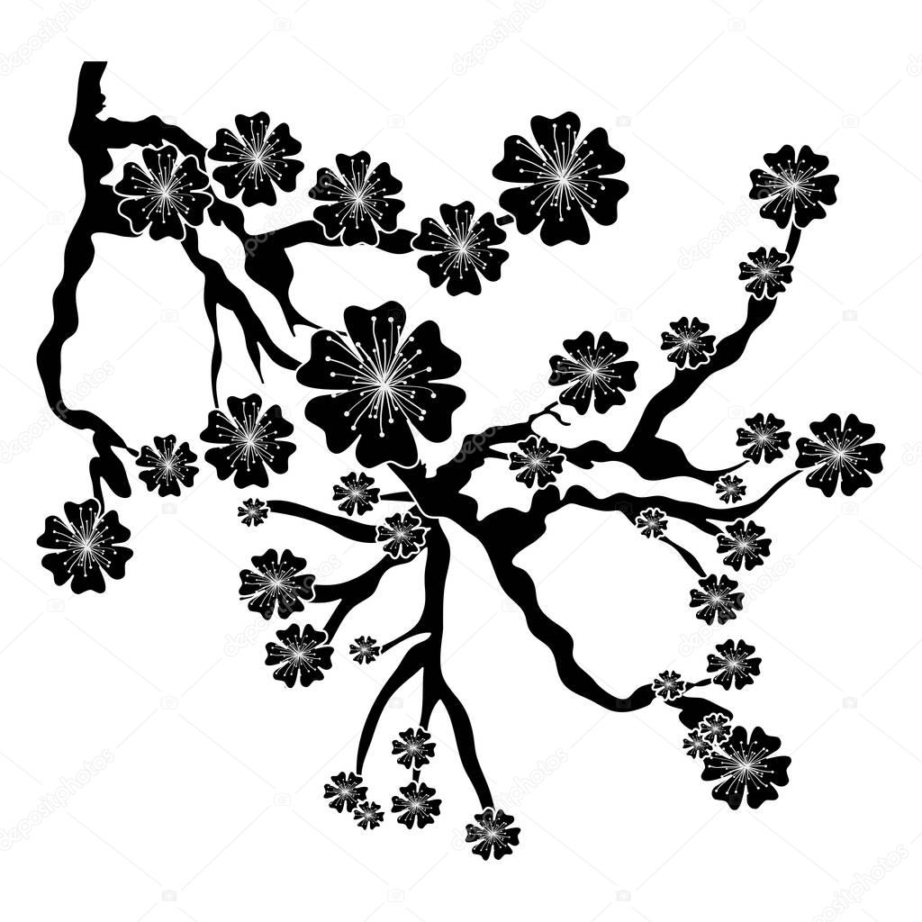 Cherry Blossom Tree Black And White: Stock Vector © Grgroupstock