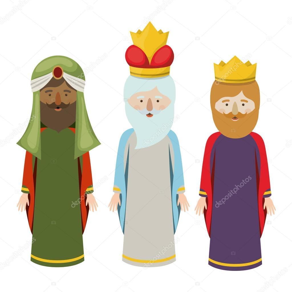 Vector Tres Reyes Magos El Diseño De Dibujos Animados De Tres