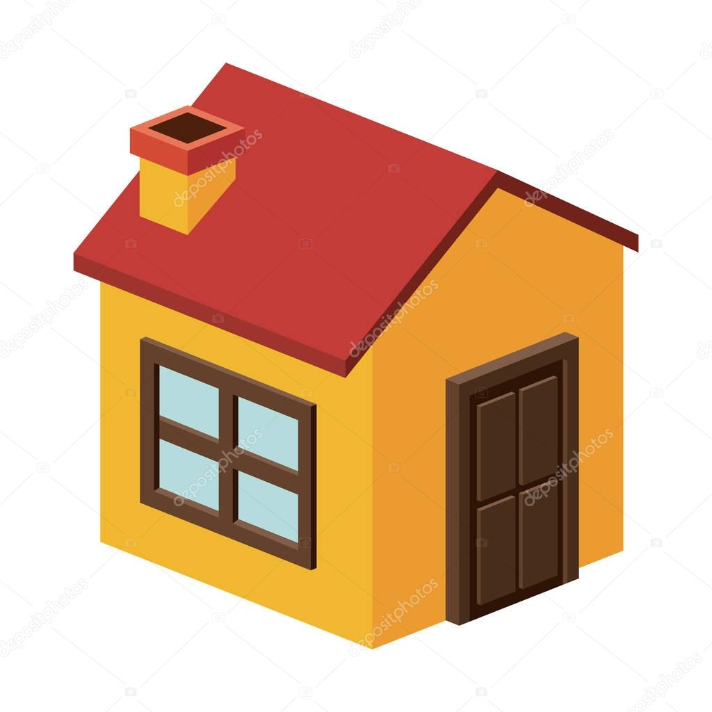 Isometric House With Chimney Design U2014 Stock Vector