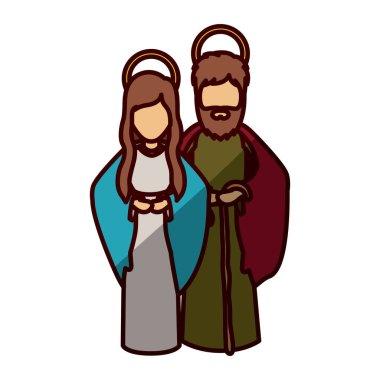 Mary and joseph cartoon of holy night design