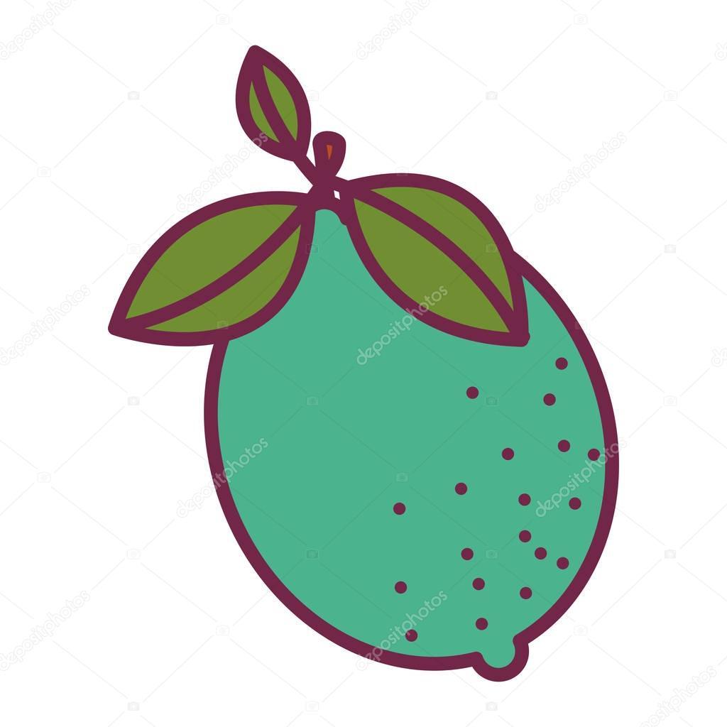 Silhouette Farbe der Frucht Zitrone mit Stamm und Blätter ...