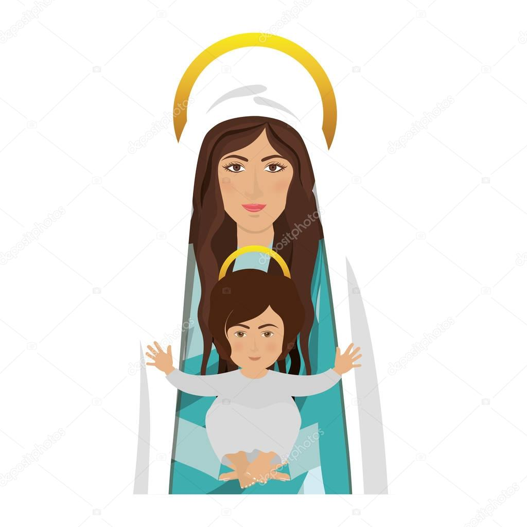 Vergine maria e gesù bambino — vettoriali stock