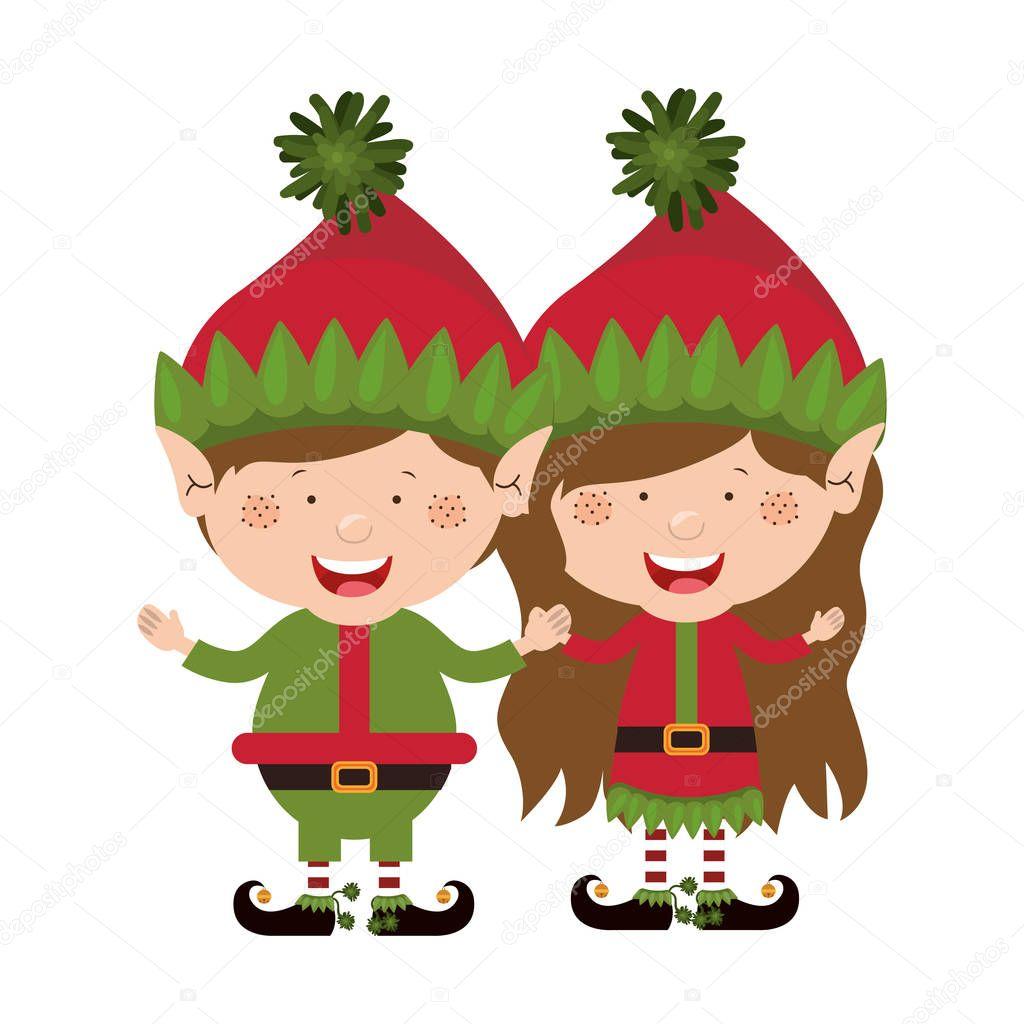 カラー画像クリスマス gnome のカップルと子供 — ストックベクター