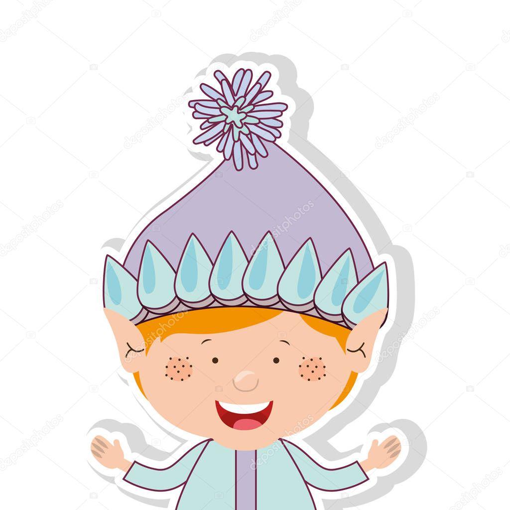 Farbbild mit halben Körper Gnome blonden Jungen — Stockvektor ...