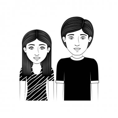 silhouette couple teenager with hairstyle