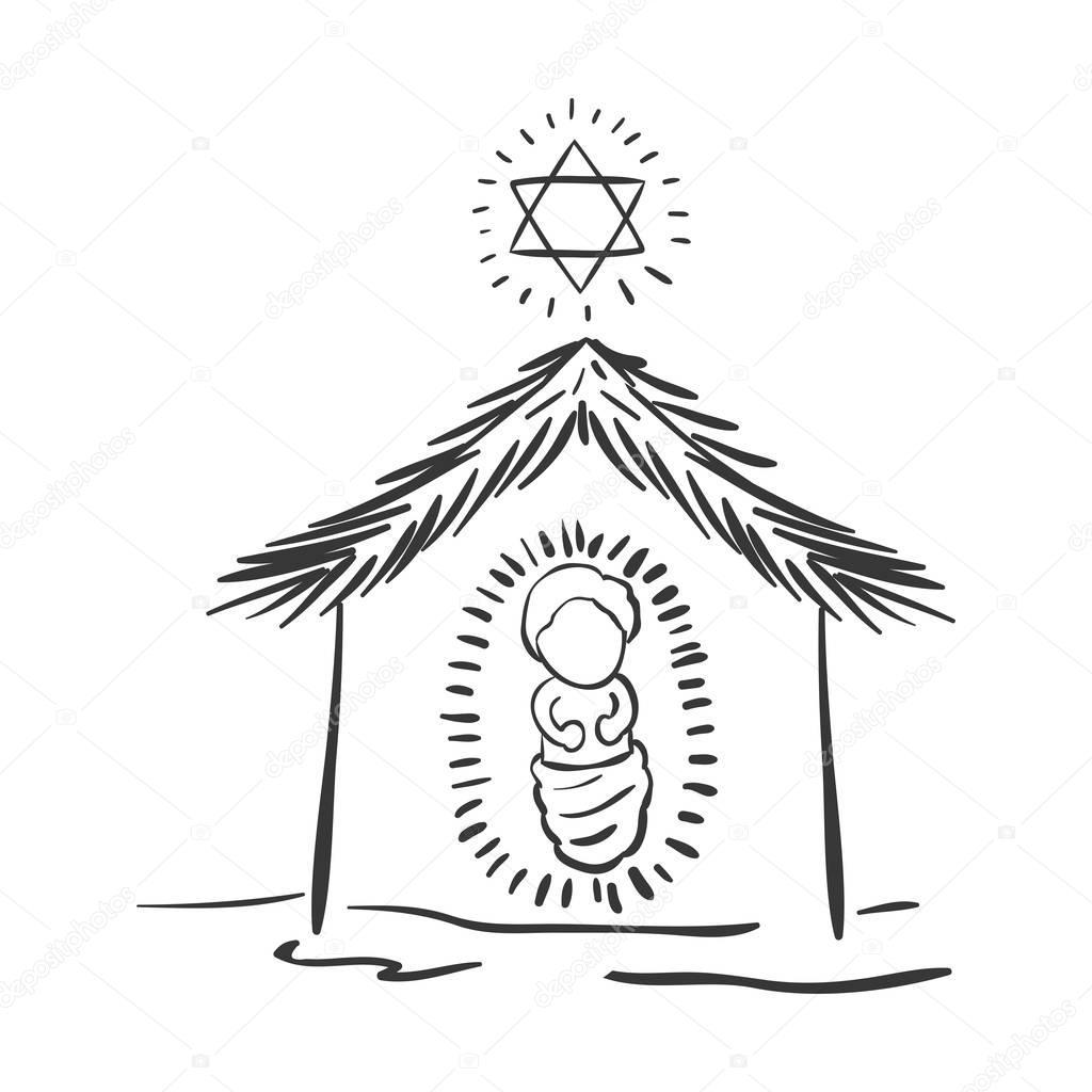 portal de Navidad silueta con niño Jesús — Archivo Imágenes ...
