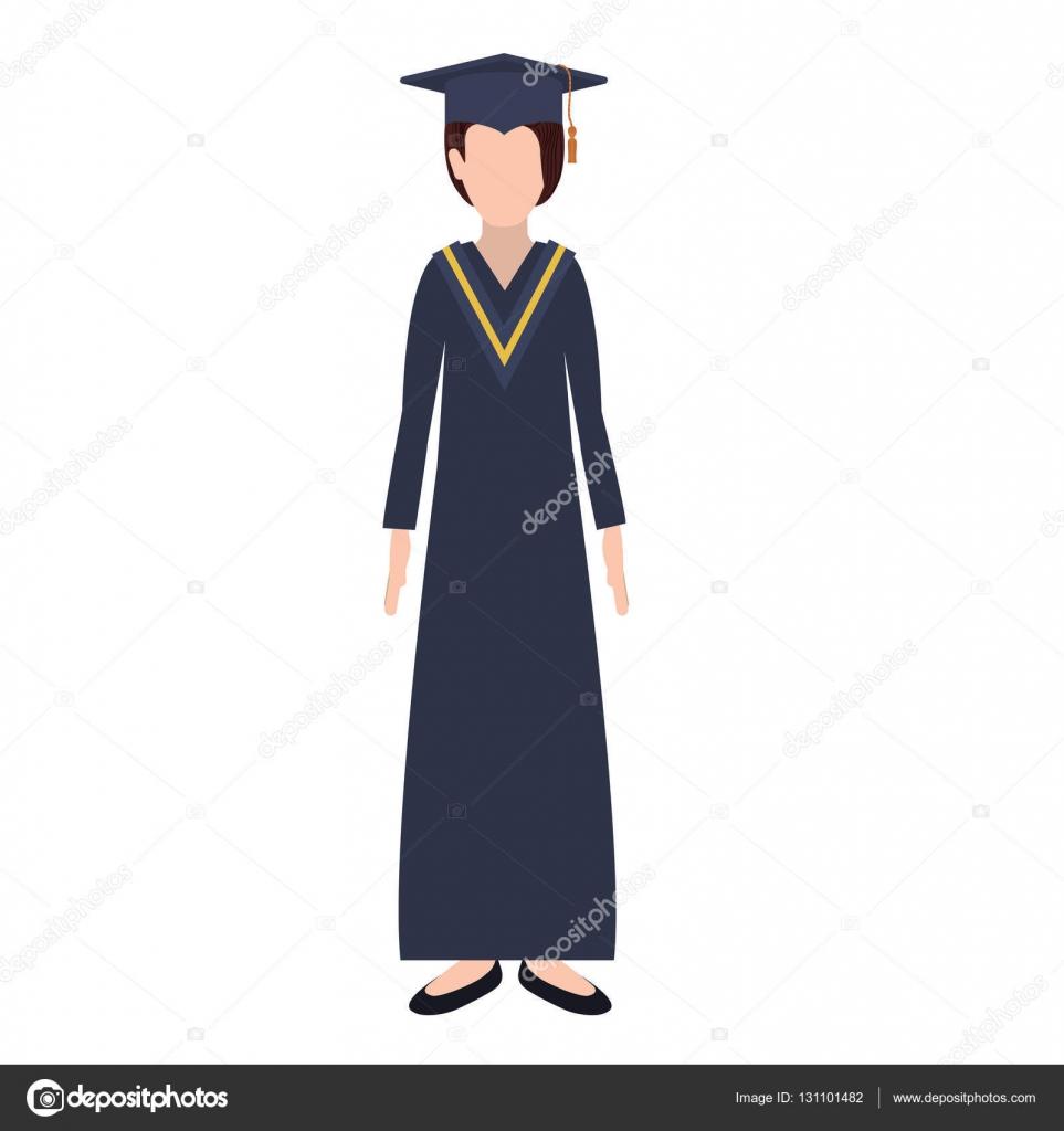 31df38755 Mujer de silueta con traje de graduación — Archivo Imágenes Vectoriales