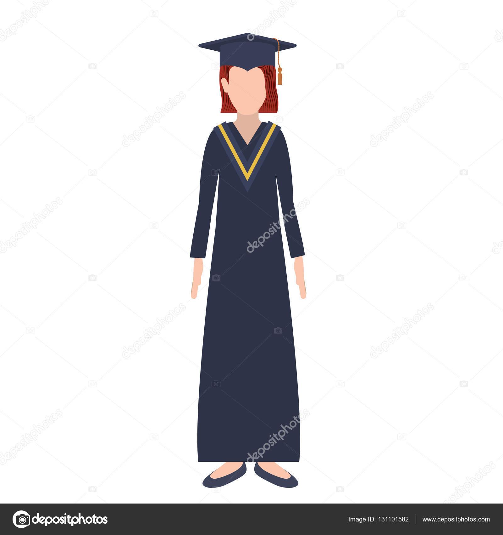 b44c1e3b5 Mujer de silueta con traje de graduación y redhair — Archivo Imágenes  Vectoriales