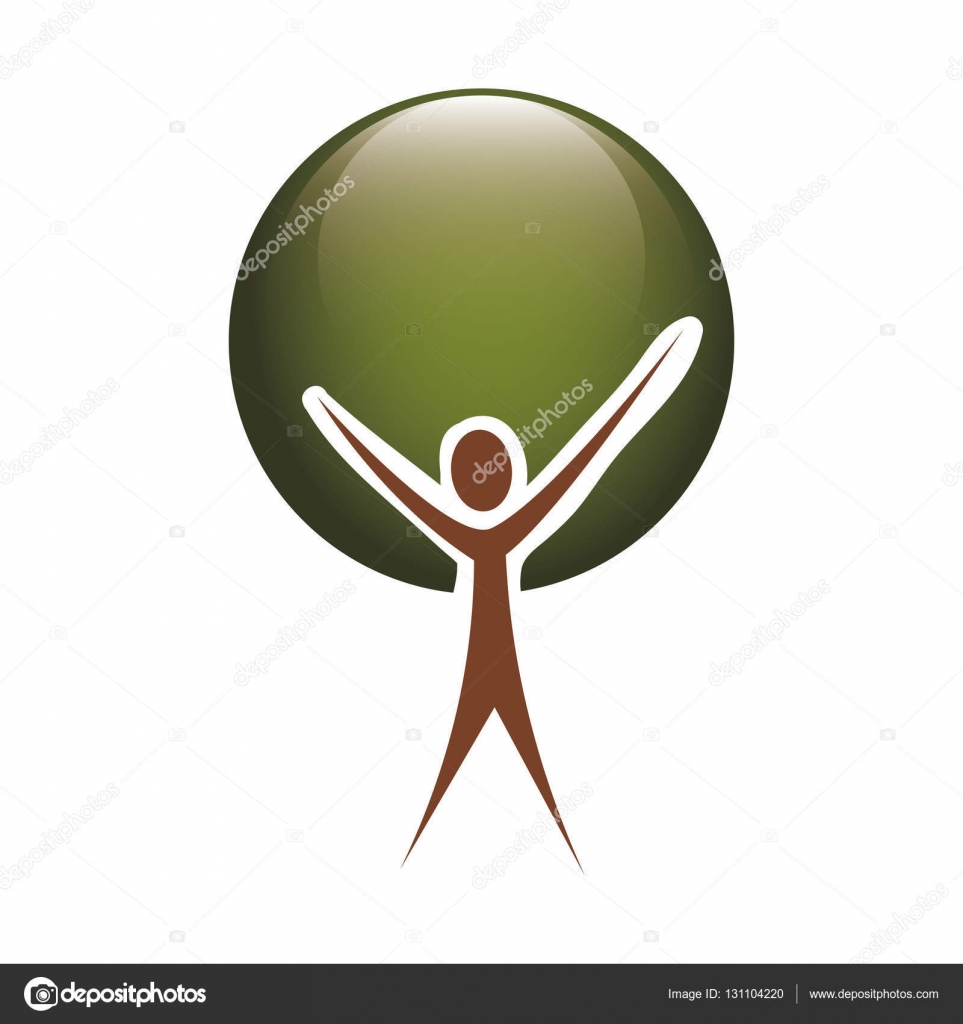 colorful tree trunk human with foliage circular — Stock Vector ...