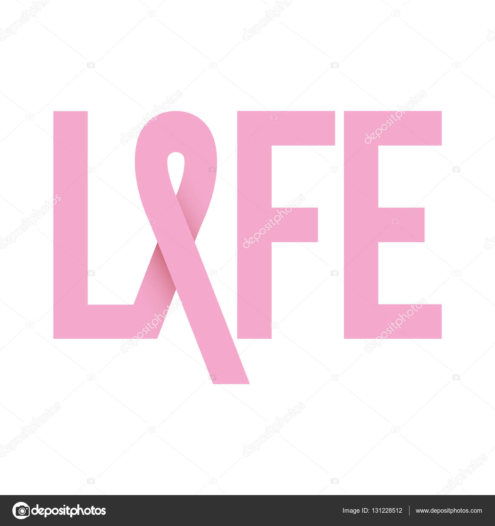 Ribbon pink symbol of breast cancer with word life stock vector ribbon pink symbol of breast cancer with word life stock vector biocorpaavc Image collections