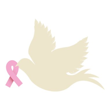 pigeon wiht ribbon of breast cancer in the peak