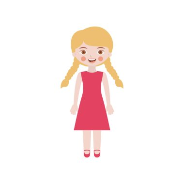 blond girl with braided hair and dress