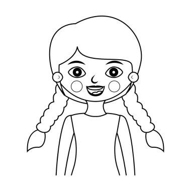 half body girl silhouette with braided hair