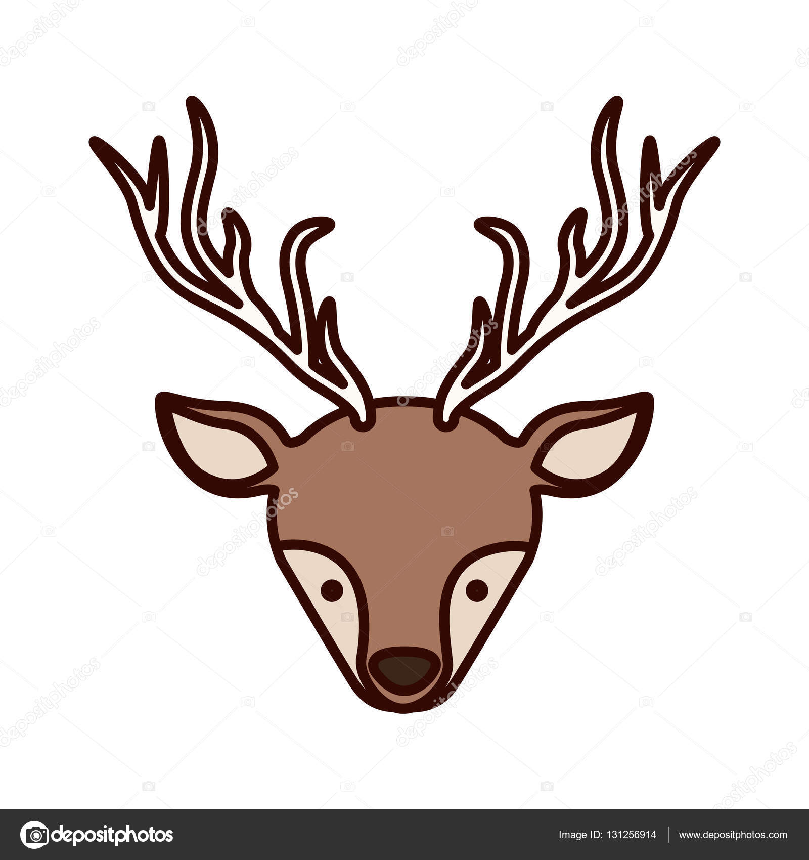Front Face Christmas Reindeer With Shadow Stock Vector