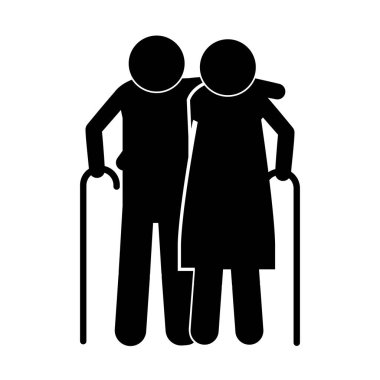 pictogram elderly couple with walking stick