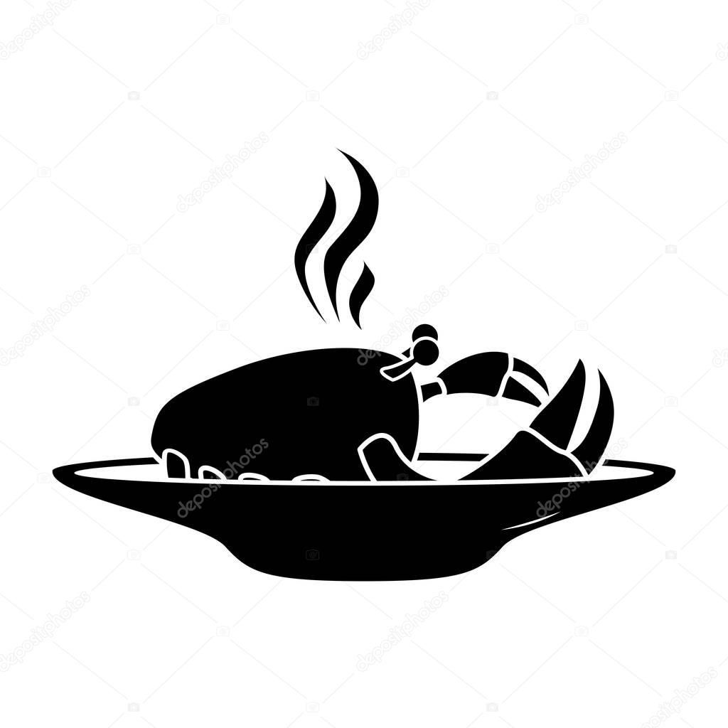 silhouette monochrome dish with hot crab
