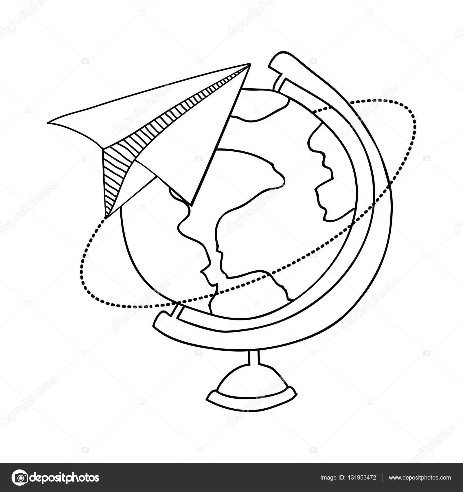 Contorno con mappa del mondo e aereo di carta vettoriali - Mappa del mondo contorno ks2 ...