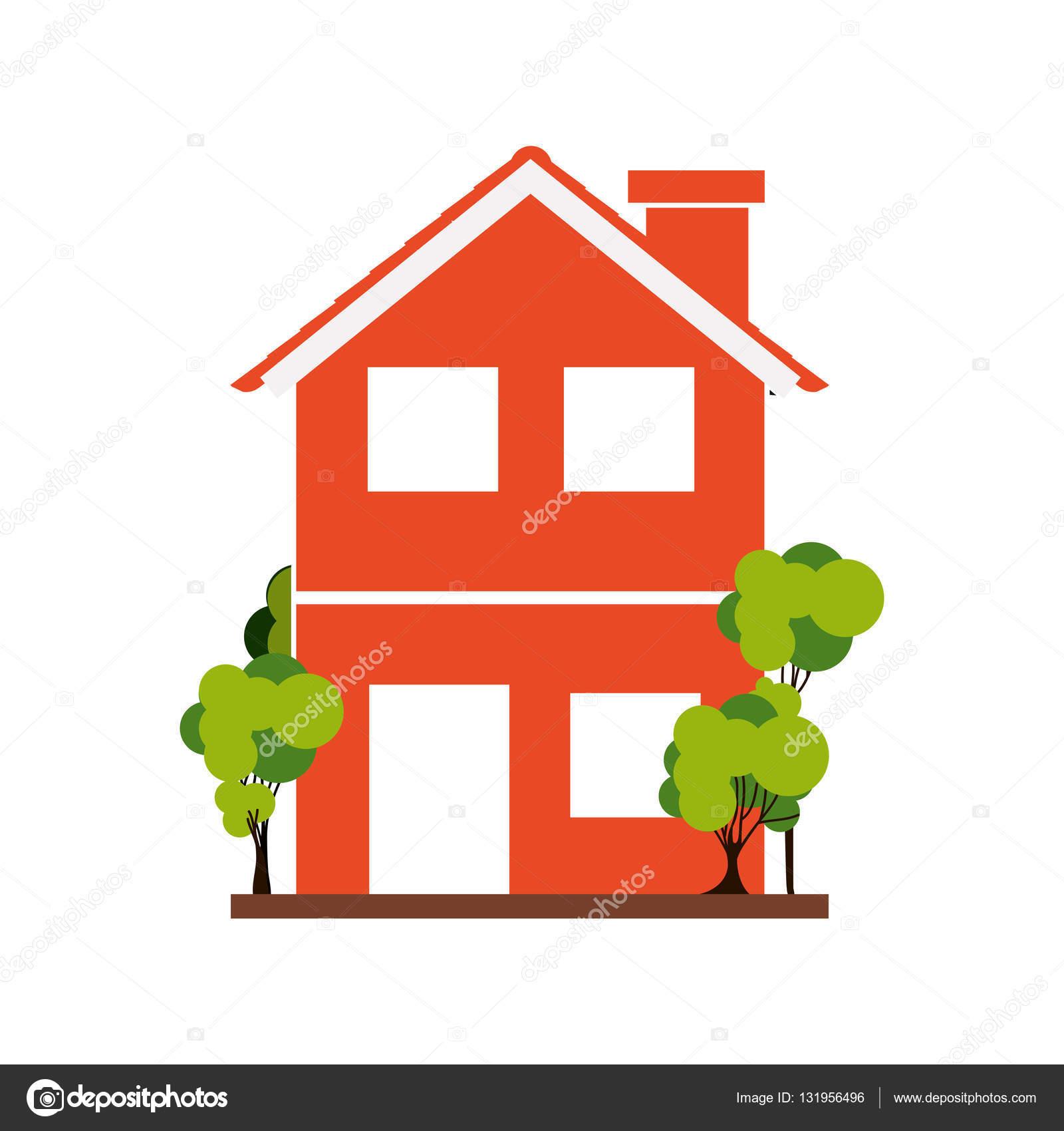 Sagoma con arancia casa di due piani con alberi for Piani di energia stella casa