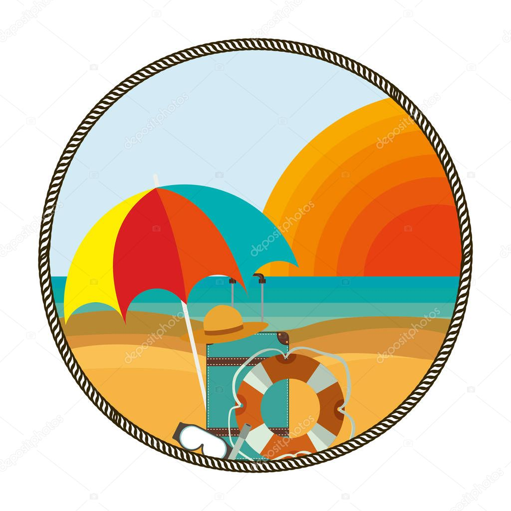 background beach with vacation objects
