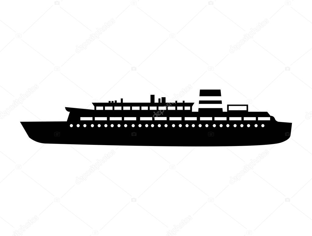 black silhouette cruise ship design