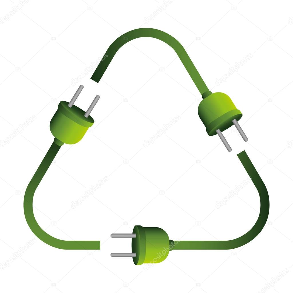 plugs in recycling symbol shape