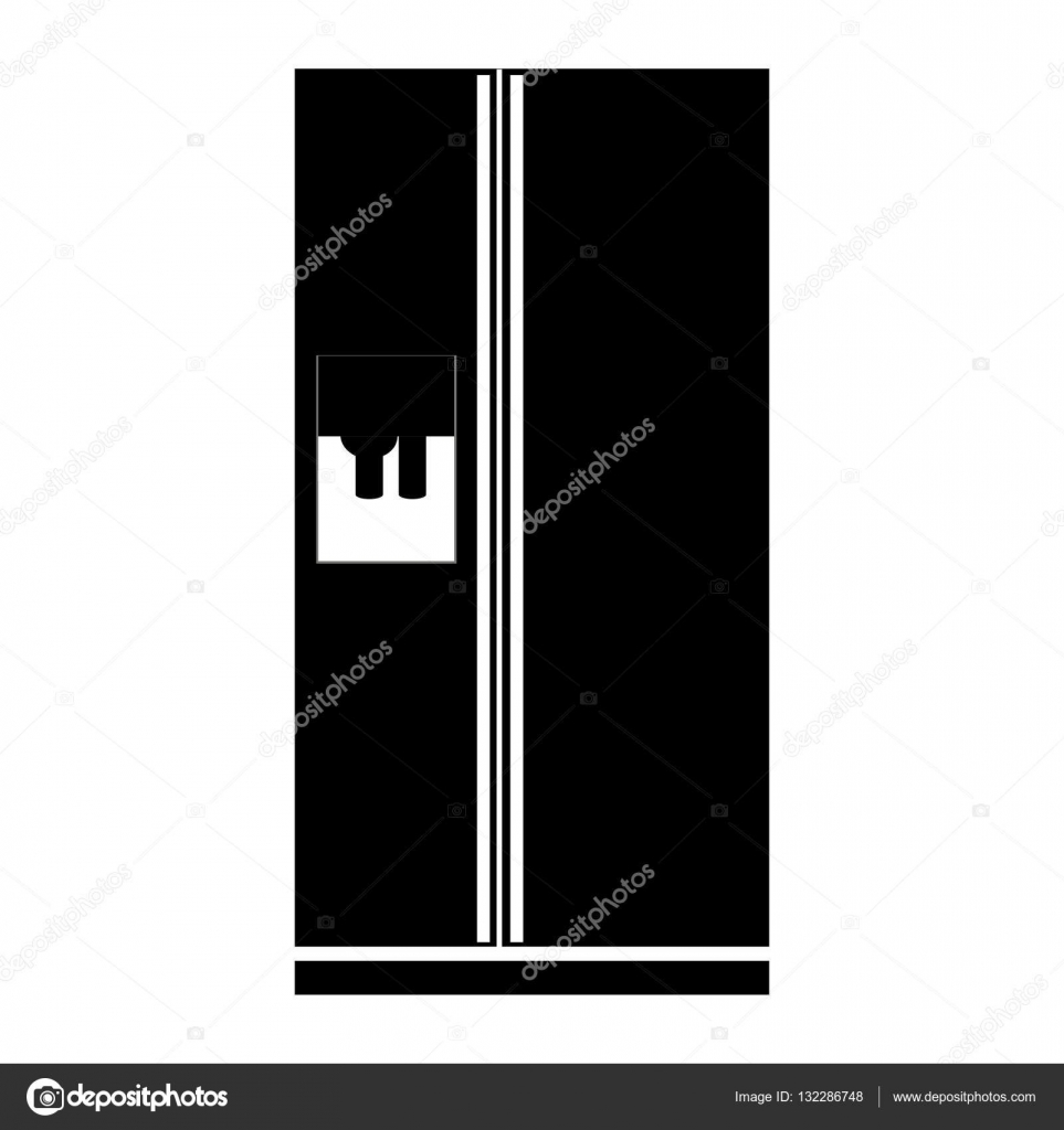 monocromatico frigo con dispenser di acqua — Vettoriali Stock ...