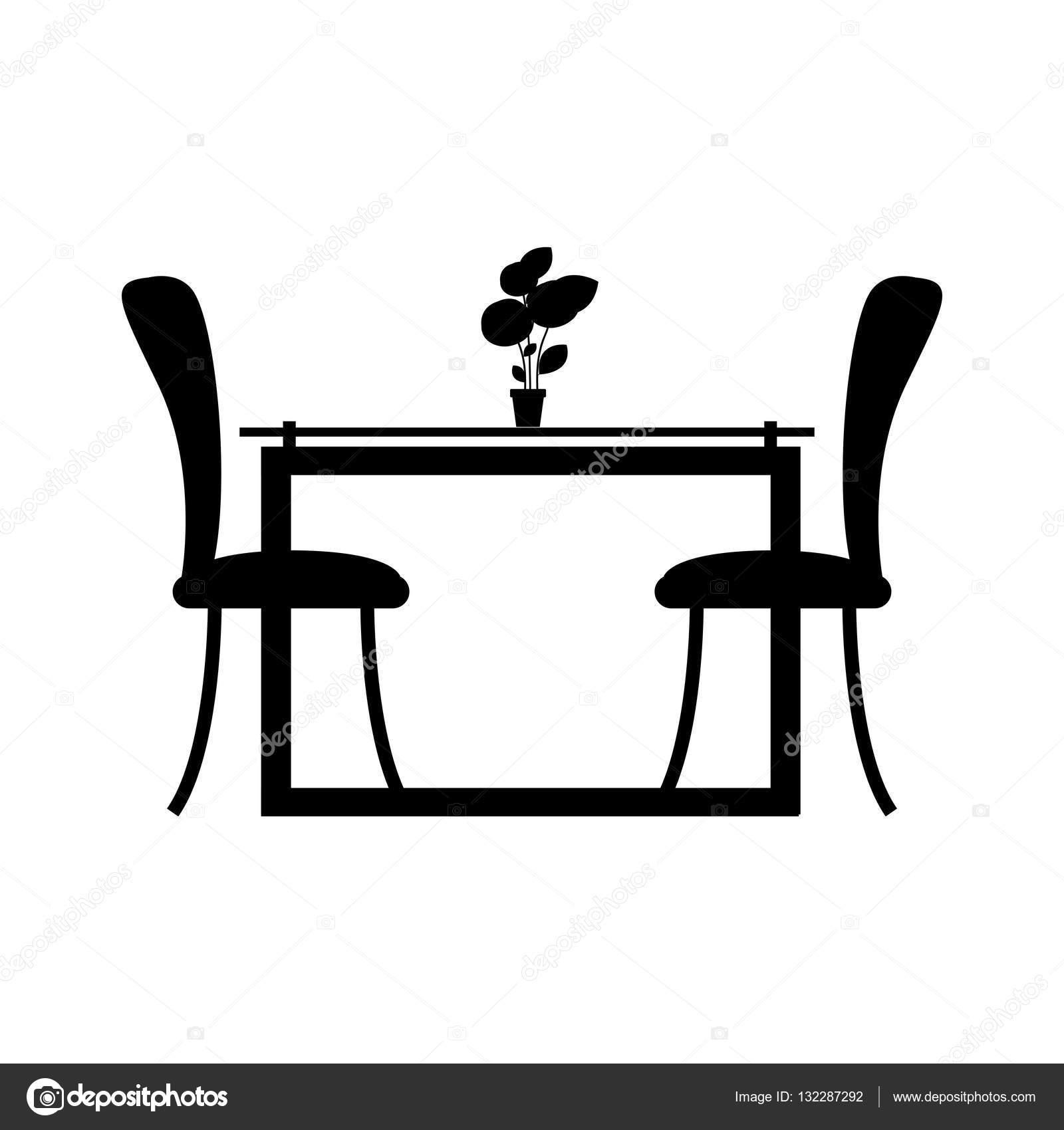 zwart-wit silhouet eetkamer met twee stoelen — Stockvector ...