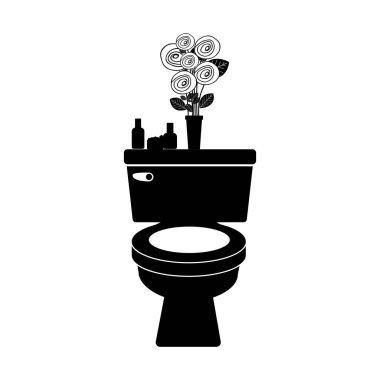 monochrome toilet with decorative vase
