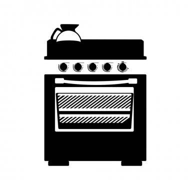 monochrome silhouette stove with oven