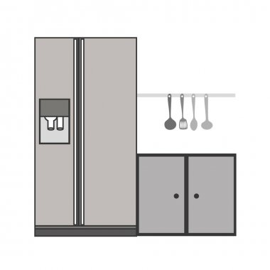 gray scale silhouette fridge and cabinet