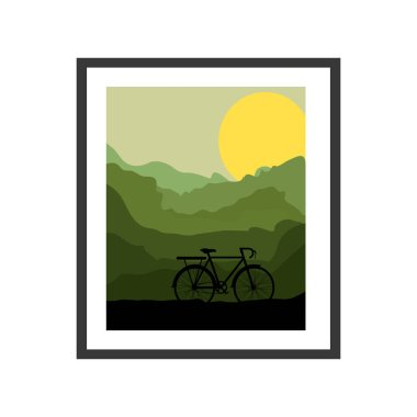 colorful picture frame with bicycle and sun