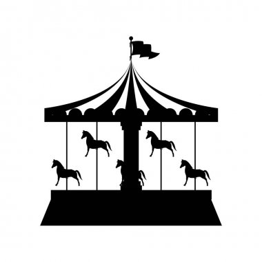 silhouette merry Go Round with horses