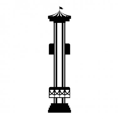 silhouette amusement park shot tower flat icon