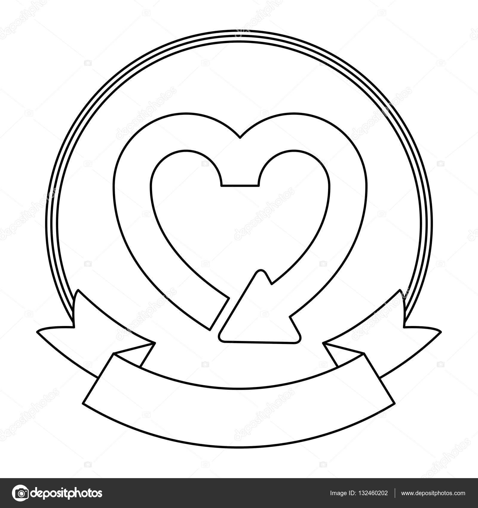 Izole Geri Dönüşüm Kalp Tasarımı Stok Vektör Grgroupstock 132460202