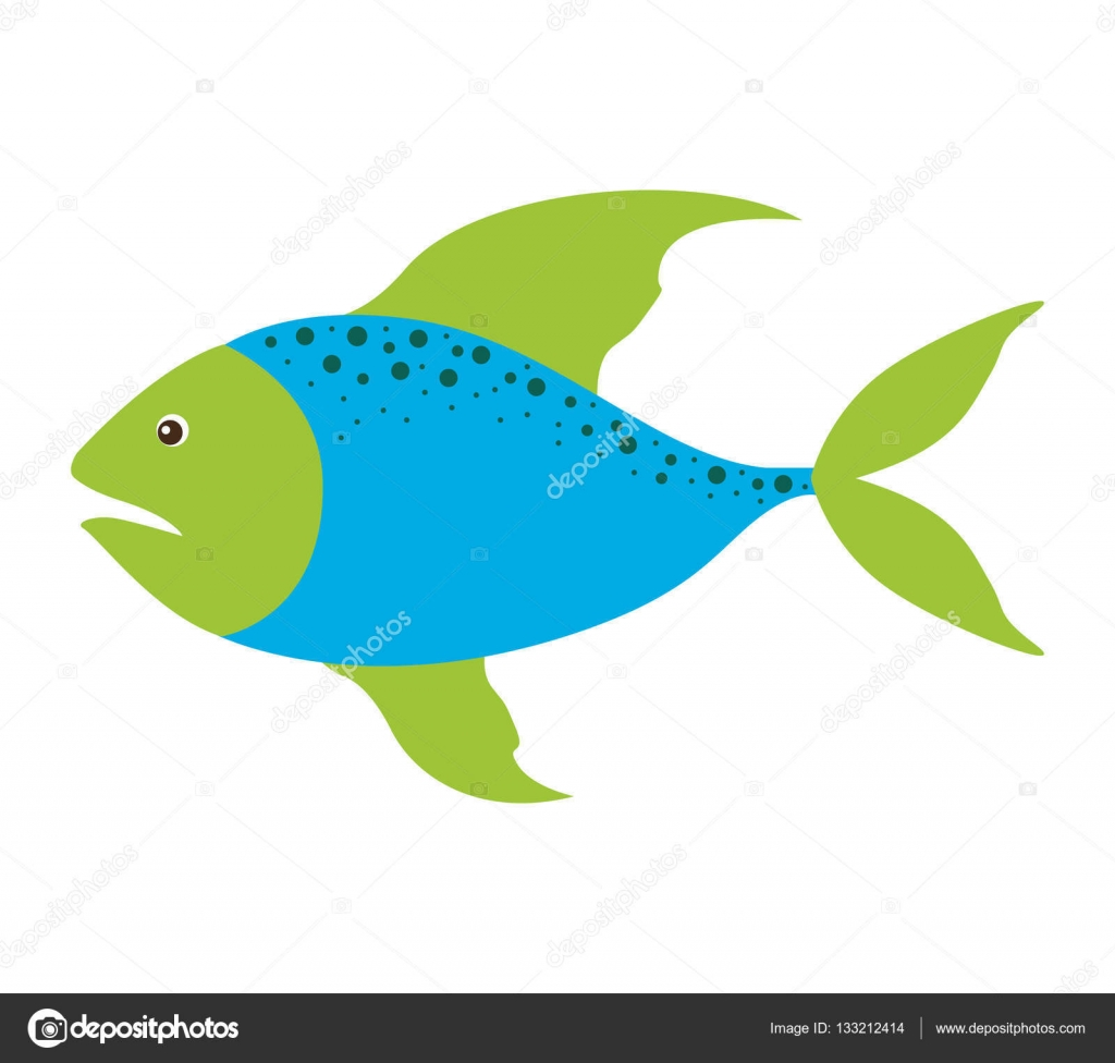 silueta colores con pescados de mar azul y aletas verde y puntos ...