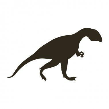 monochrome silhouette with dinosaur allosaurus