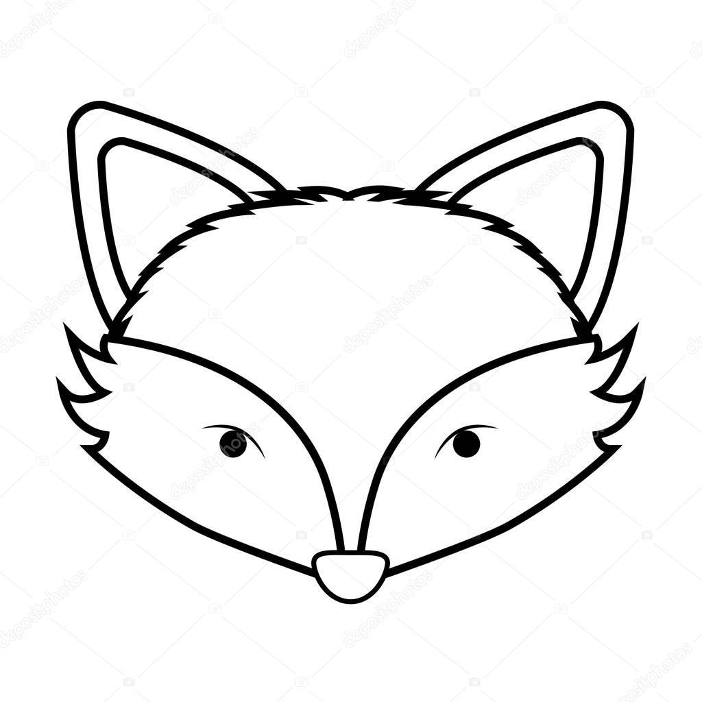 Aninimal Book: contorno preto e branco com cara de raposa — Vetores de ...